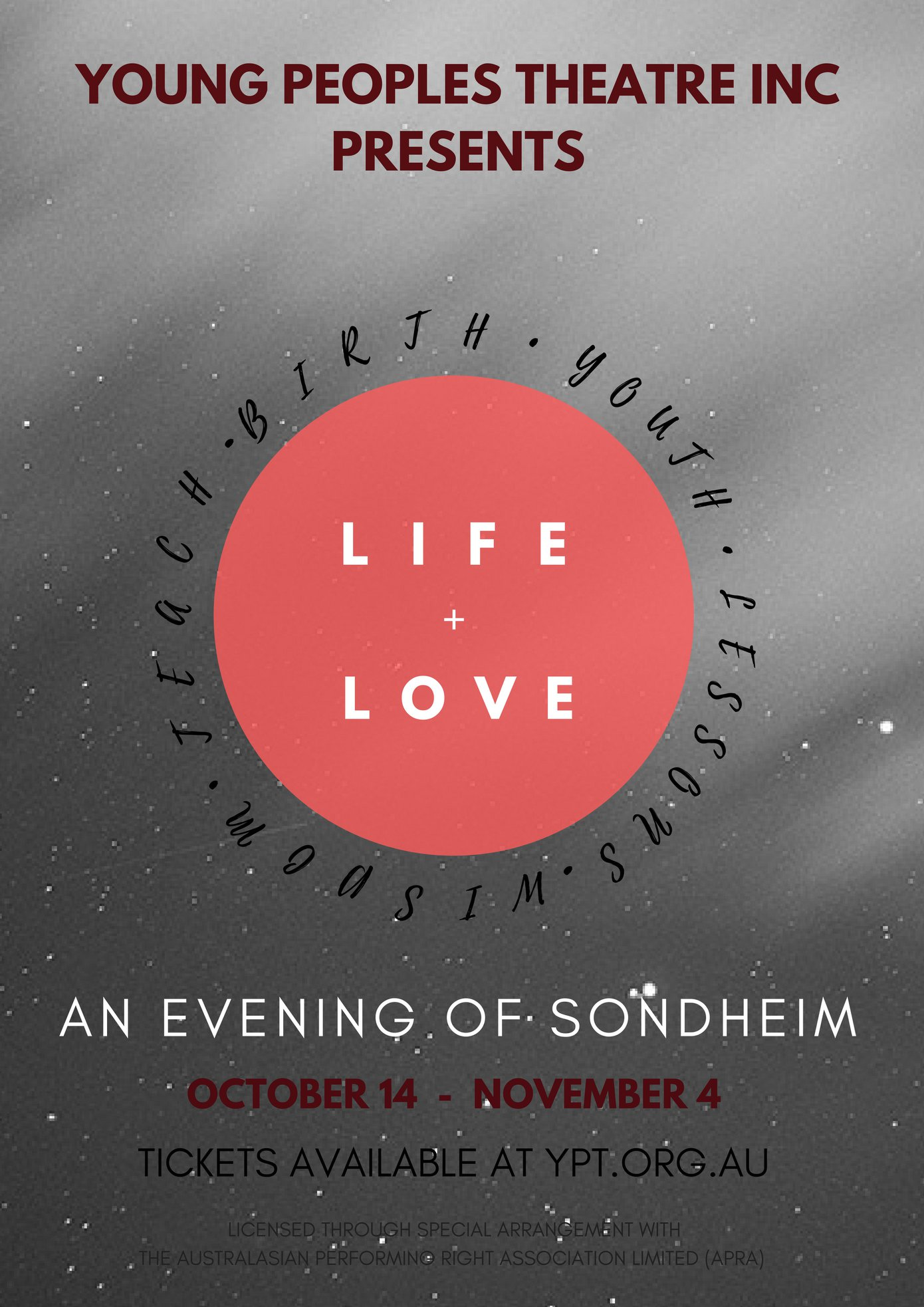Life and Love Sondheim concert flier