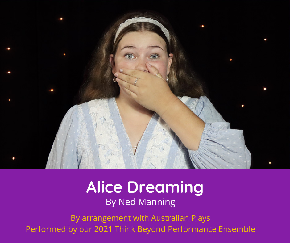 Alice Dreaming photo. Girl has hand covering her mouth in surprise.
